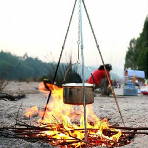 Hot Outdoor Camping Campfire Portable Cast Iron Tripod For Cooking Coffee Pot