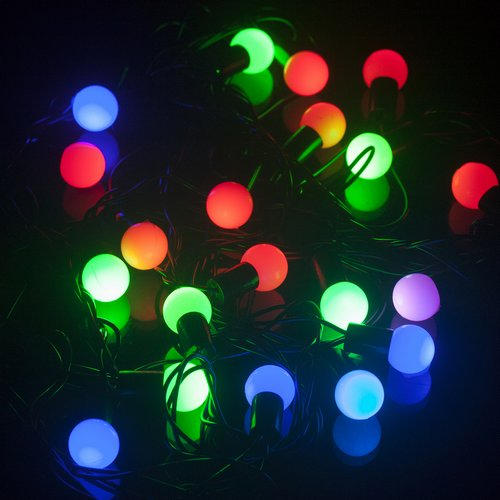 Led String Lights Round : Mixed-color Christmas Day 30 LED Light 4M String Round Blub Lamp 220V
